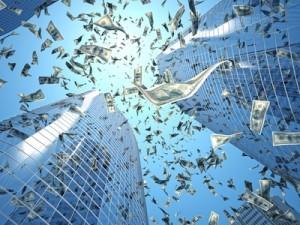 dollar rain and skyscraper background